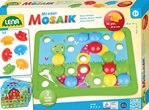 Lena 35632 x erstes Mosaik Natur, Steckmosaik mit 36 Steckern, Mosaiksteine mit Ø 32 mm, Mosaikspiel mit 7 Steckvorlagen, Steckspiel für Kinder ab 2 Jahre, My First Mosaic Bastelset, Bunt