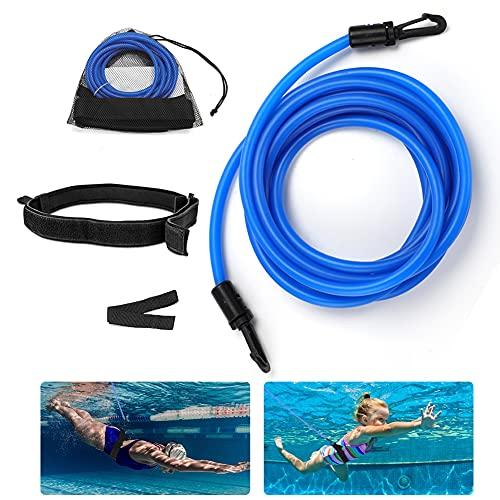 Punvot Schwimmgurt für Pool, 4M Einstellbare Pool Schwimmgürtel Schwimmwiderstand Gürtel Schwimmtraining für Kinder&Erwachsene Trainingshilfegurt Fitnessgeräte für Schwimmingpools Widerstandstraining