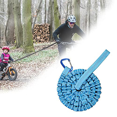 YOMERA Abschleppseil Fahrrad Kinder, Kinder Dehnbares Bungee Seil Universell Strapazierfähig Elastisch Bungee-Seil, Kompatibel mit All Mountain Bikes (Blau)(3M, Bis 500 lb/225 kg)