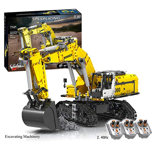 SERBVN Technik Bagger mit 6 Motor & 3 Fernbedienung, Motorisierter Raupenbagger Ferngesteuert, Linkbelt Bagger Kompatibel mit Lego Technic -2071 Teilen