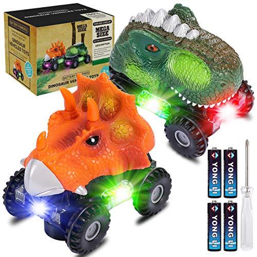 Dinosaurier Autos, joylink Dinosaurier Autos für Kinder mit LED-Lichtern und Realistischer Geräuschen T-Rex Triceratops Dinosaurierautos Dino Auto Spielzeug Geschenke für Kinder von 3-8 Jahren (Klein)