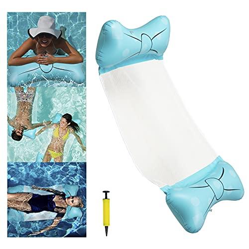 Wasserhängematte, 4 in 1 Aufblasbare Luftmatratze, Pool-Hängematte, Pools Schwimmbecken, Loungesessel, Erwachsene Aufblasbare Schwimmende Strand Liege Für(Blue)