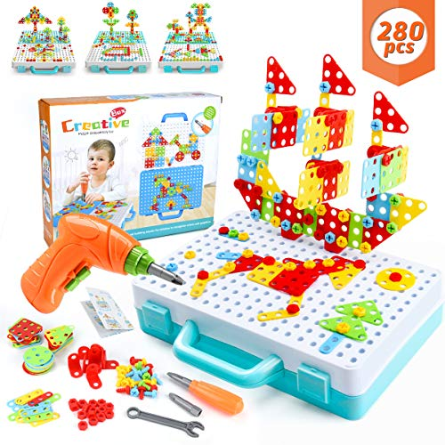 WEARXI Mosaik Steckspiel, Spielzeug ab 3 Jahre, Geschenk für Kinder - 3D Puzzle Kinder Bausteine Kinder Spielzeug ab 3, Steckspiele ab 3 Jahren, Geschenke Junge, Mädchen(280pcs)