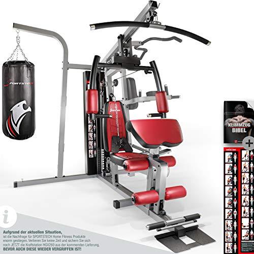 Sportstech Premium 50in1 Kraftstation für EIN Allround Training | Multifunktions-Heimtrainer mit Stepper & LAT-Zugturm | HGX Fitness-Station aus Eva Material | Robust für Zuhause (HGX260 Modell2021)