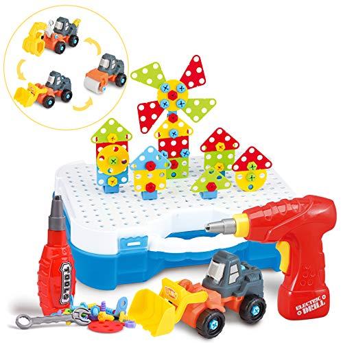 SYOSIN 325 Stücke Steckspiel Bohrmaschine Mosaik Spielzeug Bohrer STEM Schrauben Kreatives DIY Werkzeuge Spielzeug Steckspiele für 3-6 Jahre Kinder