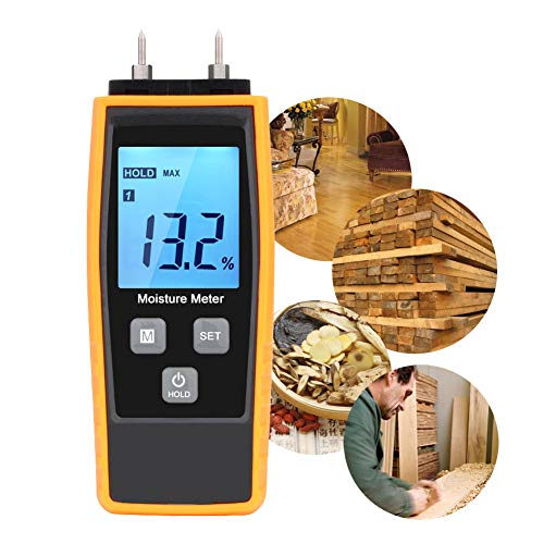 Digitales Holzfeuchtemessgerät,V·RESOURCING Feuchtigkeitsmesser mit LCD Hintergrundbeleuchtung , Ideal für Bauunternehmer, Holzfäller und Hausbesitzer zur Messung von Brennholz, Möbeln, Bäumen