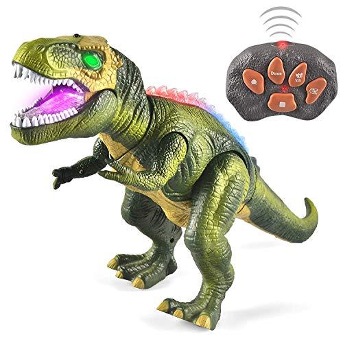 JOYIN Kinder LED Ferngesteuertes Dinosaurier Spielzeug, Elektronik T-Rex Dino Spielzeug mit Gehen, Brüllen, leuchtenden Augen und Kopfschütteln für Kleinkinder Jungen Mädchen