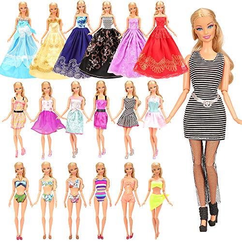 Miunana 16 Kleidung Zubehör für Puppen = 10 Casual Klediung Kleider +3 Abendkleider + 3 Badenanzug für 11,5 Zoll Mädchen Puppen
