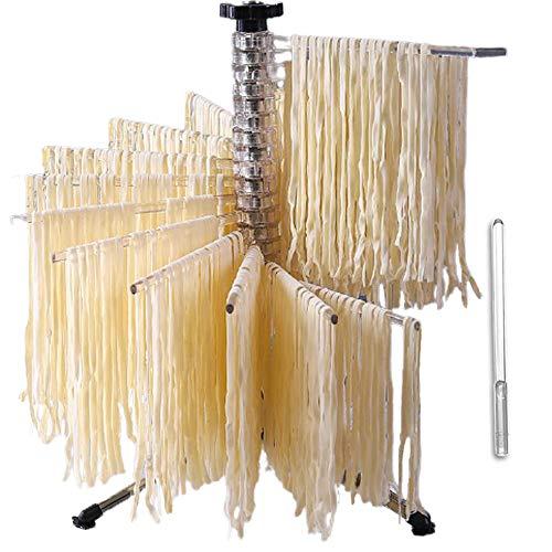 Bugucat Nudeltrockner 16 Pole, Pastatrockner Nudelstände mit 16 Ausziehbare Sprossen für bis zu 2kg Nudeln Tassen Handtücher, Integrierter Transportierstab,Faltbar-Spaghetti-Trockner, Pasta-Trockner