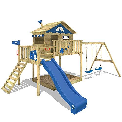WICKEY Spielturm Smart Coast Kletterturm Spielhaus auf Podest mit Doppelschaukel und blauer Rutsche, großem Sandkasten und Kletterleiter