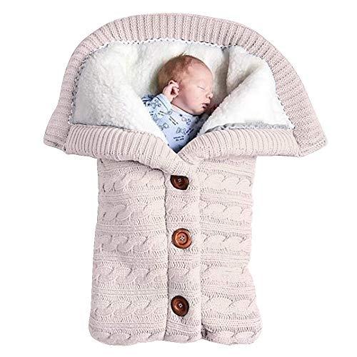 Baby Schlafsack für Kinderwagen Gestrickt Schlafsack Süße Samt Warme Tasche Pucksack Stricken Wickeln Abnehmbare Ärmel Strick Decke Schlafsack Swaddle für Babys Neugeboren (Weiß, Einheitsgröße)