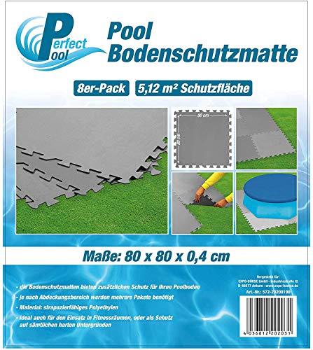 Perfect Pool Poolmatte Pool Bodenschutzmatte Fitnessmatte 8er Pack (80 x 80 cm in Grau)
