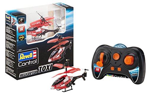 Revell Control 23841 RC Helikopter RTF, ferngesteuerter Hubschrauber für Einsteiger, 3-CH IR Fernsteuerung, einfach zu fliegen, elektrischer Gyro, sehr stabil, USB-Ladekabel, nur Indoor - TOXI, Rot