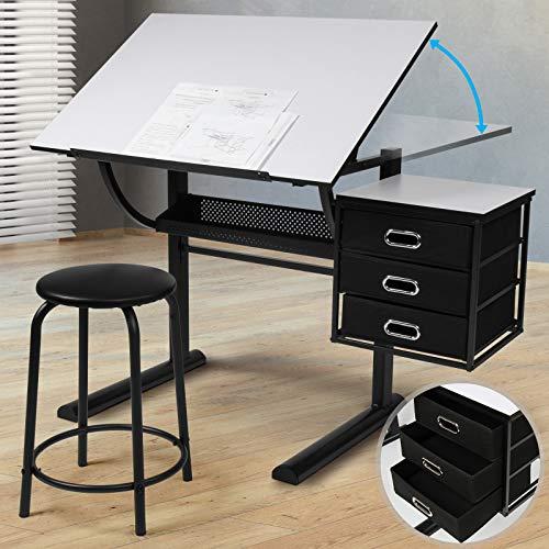 Zeichentisch mit Hocker - Tischplatte stufenlos neigbar, inkl. Schrank mit 3 Schubladen, Weiß Schwarz - Schreibtisch, Bürotisch, Arbeitstisch, Architektentisch für Architekten und Techniker
