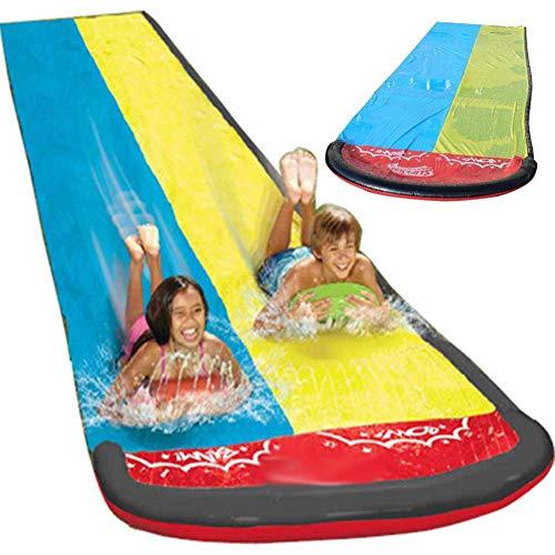 Steadyuf Wasserrutsche, 480 x 145cm Wasserrutsche Rutschmatte Wasserrutschbahn Rutsche Wassermatte Outdoor Wasserspielzeug für Garten Rasen und Kinder