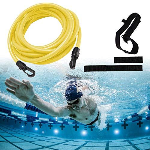 HANGNUO Einstellbare Pool Schwimmgürtel, Schwimmwiderstand Gürte, Schwimmtraining Elastischen Seil Set, Schwimmtraining Bungee, Durable Schwimmgurt für Schwimmingpools Widerstandstraining (Gelb 4M)