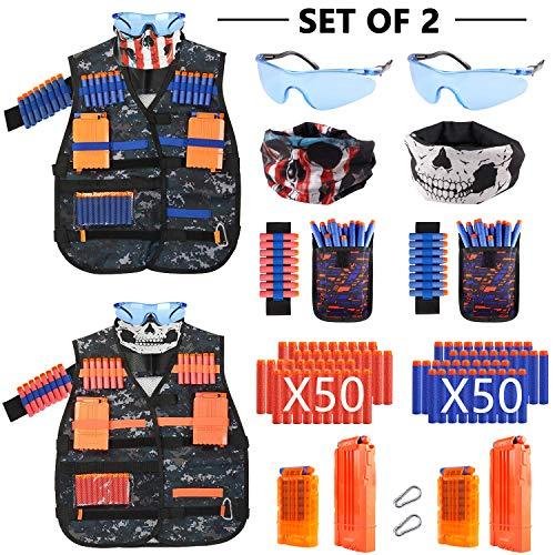 AILUKI 2 Sätze Kinder Taktische Weste Jacke Kit Set für Nerf Gun N-Streik Elite-Serie mit 100 Darts Nachfüllpack,2 Maske,2 Brille,2 Handgelenk Bandolier,4 Schnellwechselclips,2 Armbände
