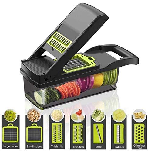 FOOLS ALIBAI gemüseschneider Smart Vegetable Slicer Mandoline,7 in 1 Mandolin Einstellbare Gemüseschneider Zwiebel Chopper mit großen Container Schneiden Gemüsekäse Obst schnell