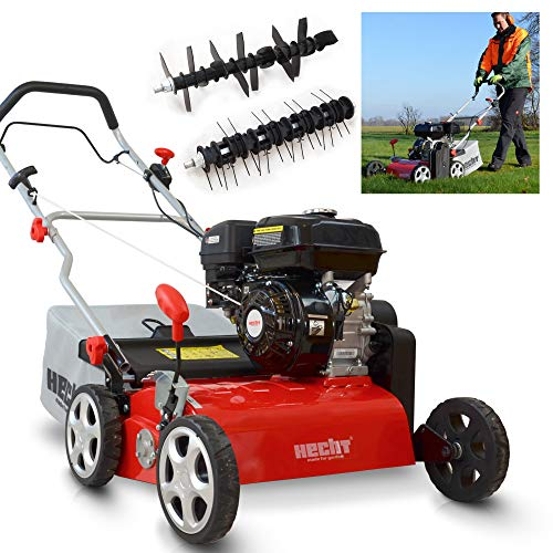 (NEU) HECHT 2-IN-1 Benzin Vertikutierer/Lüfter für optimale Rasenpflege – 4,0 kW / 5,5 PS – 42 cm Arbeitsbreite – 45 l Fangkorb – mit 2 Walzen für effektives entfernen von Moos und Unkraut im Rasen