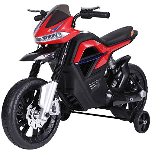 HOMCOM Kindermotorrad Kinder-Elektromotorrad Elektro-Motorrad für Kinder 3-8 Jahren Licht Musik MP3 Elektrofahrzeug mit Stützrädern maximal 3 km/h Metall + Kunststoff Rot 105 x 52,3 x 62,3 cm