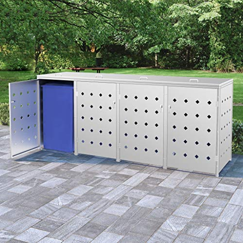 vidaXL Mülltonnenbox für 4 Tonnen 240 L Edelstahl