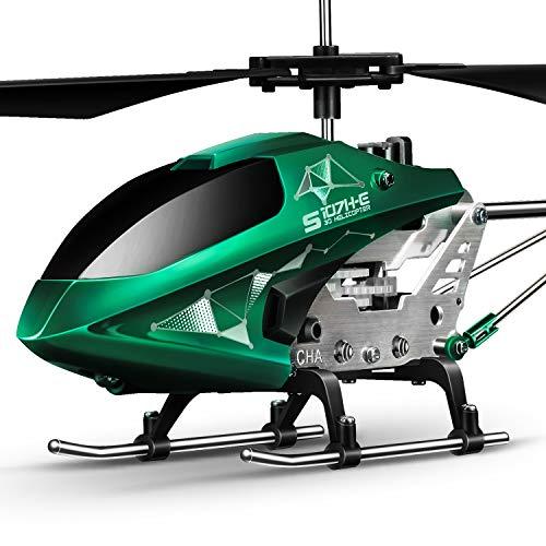 SYMA Hubschrauber ferngesteuert Helikopter Fernbedienung RC Helicopter Indoor Flugzeug Geschenk Kinder S107H-E 3.5 Kanal 2.4 Ghz LED Leucht Gyro Höhe halten Grün