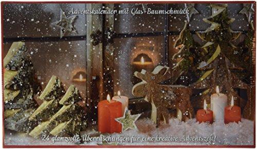 Krebs & Sohn Adventskalender mit Christbaumschmuck - 24 teiliger Weihnachtskalender aus Glaskugeln - Weihnachtsbaumschmuck - Gold, Rot