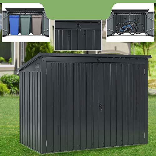 Juskys Mülltonnenbox Namur | Aufbewahrungsbox für 3 Tonnen | 1,9m² | 2 Türen abschließbar | Metall | grau | Mülltonnenverkleidung Müllbox Müllhaus