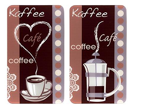 WENKO Herdabdeckplatte Universal Kaffeeduft 2er Set - 2er Set, Kochplattenabdeckung und Glas-Schneidebrett für alle Herdarten, Gehärtetes Glas, 30 x 1.8-5.5 x 52 cm, Mehrfarbig