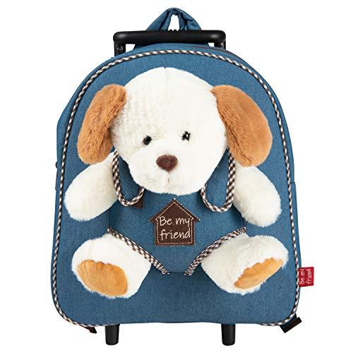 PERLETTI Plüschtier Hund Kindergepäck Rucksack Kinder - Kinderrucksack mit Abnehmbaren Rädern und Kuscheltier Welpe Plüschhund - Kindergarten Rollrucksack Kleinkinder 3 4 5 Jahren - 28x32x11 cm (Hund)