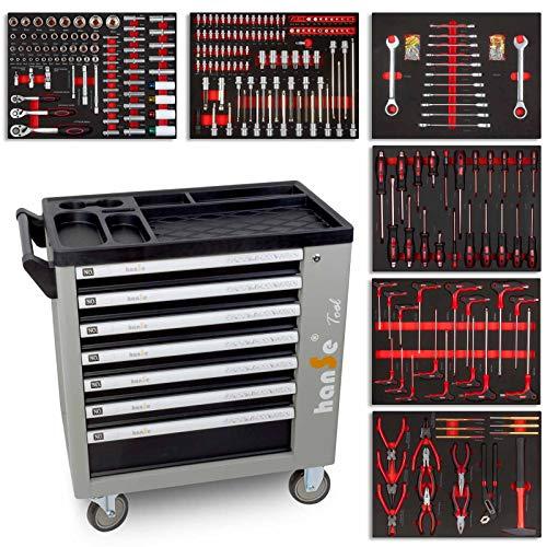 hanSe® Werkstattwagen Profi-Werkzeugwagen Montagewagen Werkzeugkiste mit sieben Schubladen mit 399 teilen bestückt