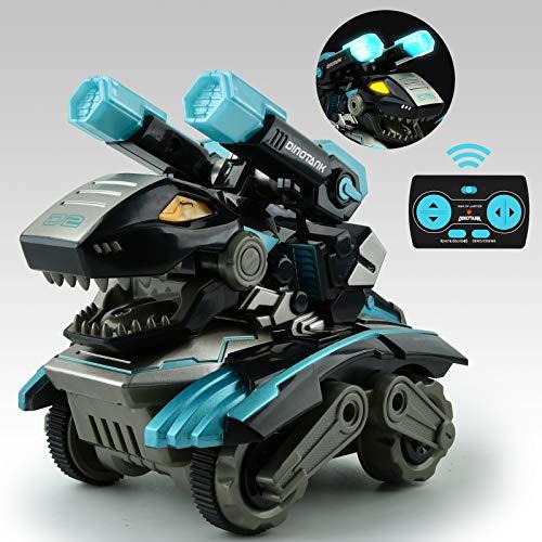 GizmoVine Dinosaurier Spielzeug mit Ferngesteuertes,360 Grad Drehen Stunt Auto Spielzeug mit LED Licht und Dino & Tank Ton für Kinder Jungen Mädchen 2 3 4 5 6 7 8 Jahren