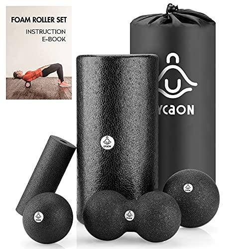 LYCAON Faszienrolle Foam Roller Set inklusive E-Book zur Tiefe Muskelmassage/Myofascial Release/Pilates/Yoga/Cross Fit/Fitness (Schwarz)
