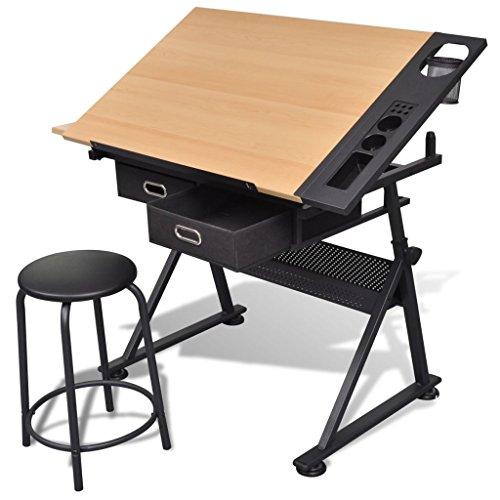 vidaXL Schreibtisch mit Hocker Architektentisch Zeichentisch Arbeitstisch Büro