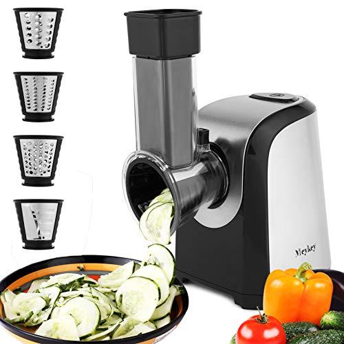 Elektrisch Gemüsehobel, Elektrisch Schnitzelwerk, Elektrische Küchenreibe, elektrischer Zerkleinerer, 150 Watt, Trommeln aus Edelstahl, 4 Kegel-Klingen