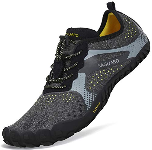Sommer Barfußschuhe Herren Trail Laufschuhe Damen Indoor Outdoor Sport Fitnessschuhe Leicht Zehen Wander Trekking Schuhe für Frauen Männer Schwarz Gr.40