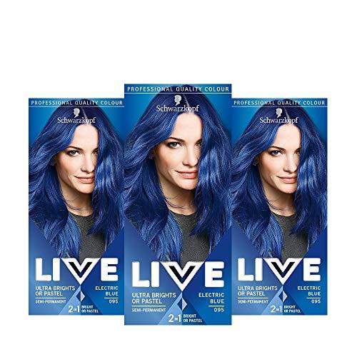 Schwarzkopf Live Ultra Bright oder Pastel Blue Haarfarbe, 3 Stück, semi-permanente Farbe, hält bis zu 15 Waschgänge, 095 Electric Blue