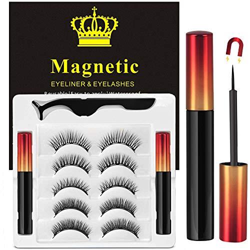 Magnetische Wimpern Eyeliner, Magnet Wimpern mit Eyeliner, Kein Kleber Künstliche Wimpern Natürlich(5 Paare)