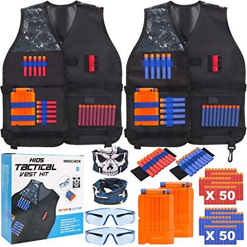 INNOCHEER Taktische Weste 2 Pack für Kinder, Taktische Weste Jacke Kit mit 100 er Darts, 2 Brille, 2 schnell nachladen Clips, 2 Maske und 2 Armbände