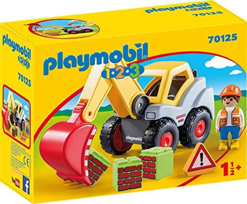 PLAYMOBIL 70125 1.2.3 Schaufelbagger, ab 18 Monaten, bunt, one Size