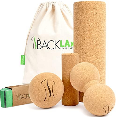 BACKLAxx® Faszienrolle Set aus Kork - Korkrolle ideal für Faszien, Rücken und Wirbelsäule - Schadstofffrei und antibakteriell inkl. Anwendungsvideos (4er)