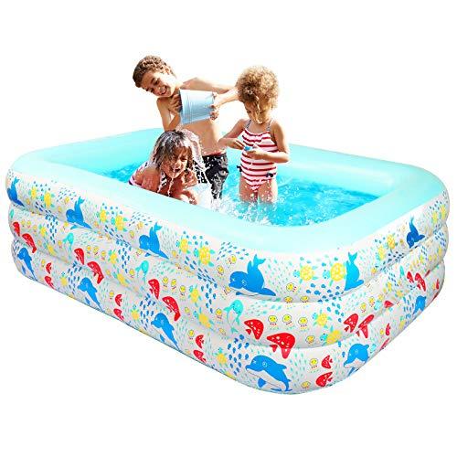 KIKILIVE Kinderpool, Planschbecken Pool Aufblasbar für Kinder Family, Verschleißfest Rechteckig Family Pool für Garten, Backyard Water Party 150 x 110 x 60cm