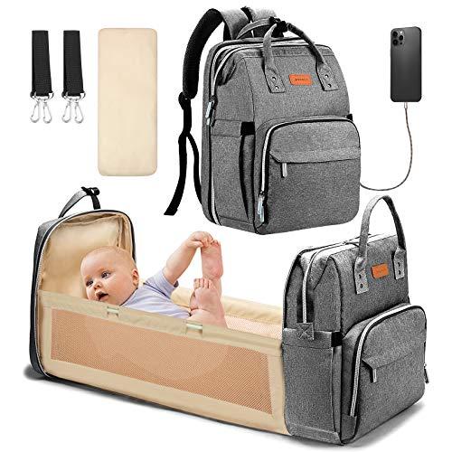YOOFOSS Baby Wickelrucksack Wickeltasche Rucksack mit mobiler Wickelauflage Wasserdichter Babyrucksack Große Kapazität Babytasche Reiserucksack Reisetasche Mamatasche mit USB Ladeanschluss Grau