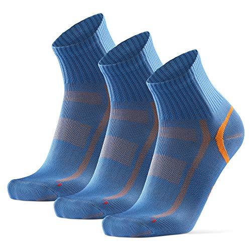 DANISH ENDURANCE Quarter Sportsocken (EU 35-38, Blau/Orange - 3 Paare)