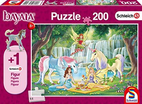 Schmidt Spiele Puzzle 56304 Schleich-Bayala, Picknick der Elfen, 200 Teile Kinderpuzzle, Figur Eyelas Königsfohlen, bunt