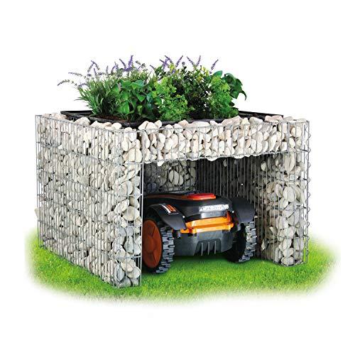 bellissa - Gabionen Mähroboter-Garage - 97296 - Bepflanzbare Rasenmäher-Garage mit Pflanzschale - 75x75x53 cm