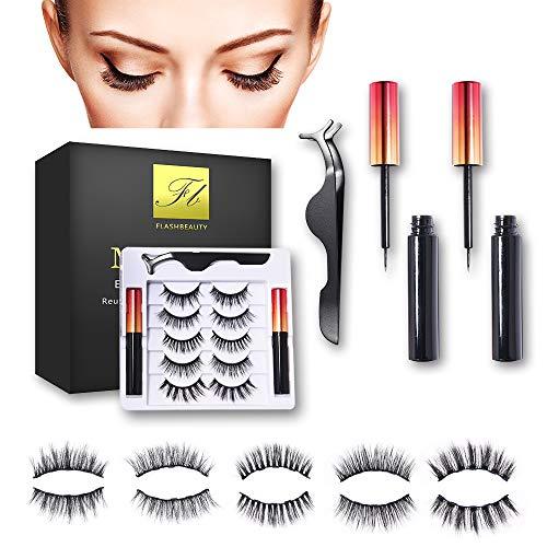 (5 Paare) Magnetische Wimpern, Magnetischer Eyeliner Set-Mit Wasserdichtem Gelfreiem Magnetic Eyeliner, Wiederverwendbare 3D magnetwimpern, Natürliches Aussehen mit Pinzette, wasserdicht
