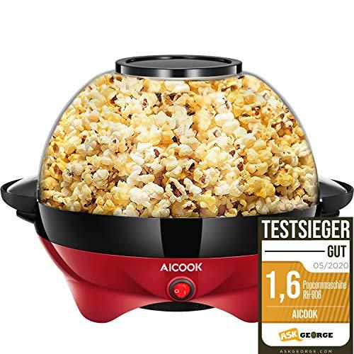Aicook Popcornmaschine für Zuhause, Popcorn Maker Machine mit Zucker & Öl, Abnehmbare Heizfläche, Antihaftbeschichtung, 5L Popcorn Popper, Großer Deckel als Servierschale, Platzsparende Lagerung