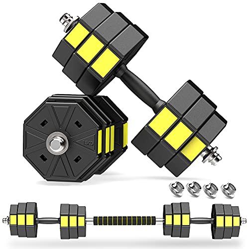 PANMAX Verstellbares Hanteln Langhanteln Gewichte Set, 3IN1 Kurzhanteln Hantelset mit Solide Hantelgriffen Bis zu 10kg 15kg 20kg Freies Gewicht Dumbbell für Bodybuilding Fitness Gewichtheben Training