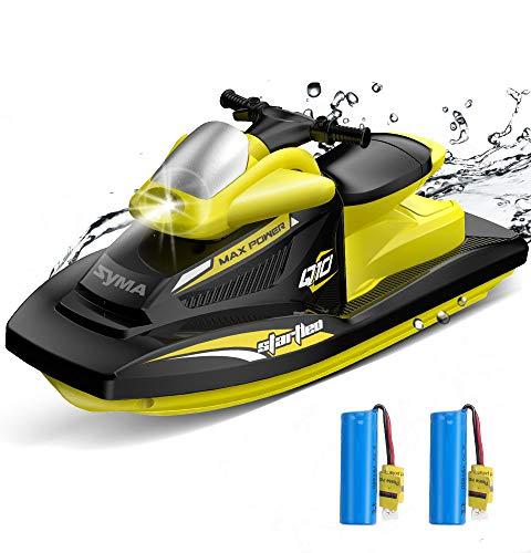 SYMA RC Boot 10km/h 40Minuten Rennboote 2.4GHz Ferngesteuerte Schnell Motorboot Q10 mit 2 Batterien Alarm bei schwacher Batterie für Jungen Mädchen Erwachsene